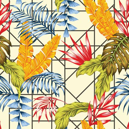 Vivid Contemporary Tropical Jungle Leaves Exclusively Selected Abstract Colors. Vector Seamless Patchwork Background. Repeating Pattern Colorful Illustration Corporate Decorative Ornament Wallpaper. Illusztráció
