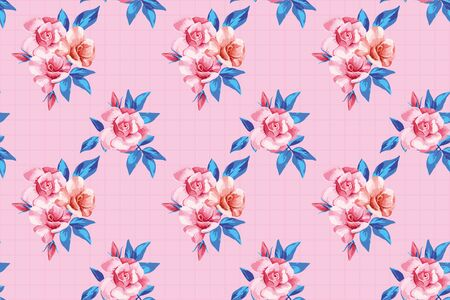 Seamless pattern realistic vector beautiful fresh pink roses with abstract trendy color blue leaves on pink background with square grid Repeating style illustration drawing watercolor floral wallpaper Ilustracja