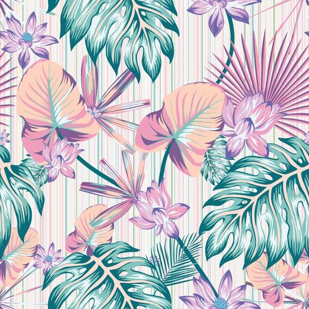 Winter cold style tropical flowers and leaves illustration Vector repeat pattern seamless floral wallpaper in abstract color stripe background. Trendy beach style exotic jungle creative template print Ilustracja