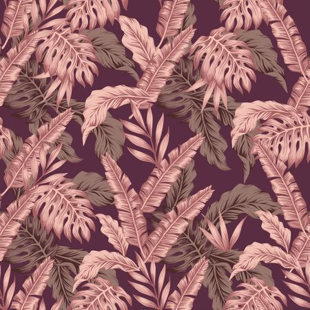 Abstract composition consist creative pink color tropical palm banana monstera fern leaves. Exotic seamless vector beach illustration on wine dregs color background. Repeating pattern print wallpaper. Ilustracja