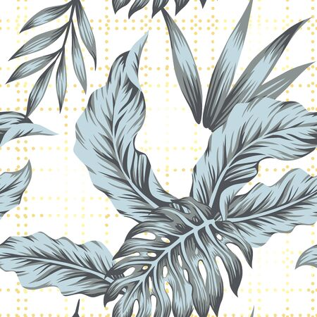 Nature composition consist creative grey color tropical palm banana, monstera leaves. Exotic seamless vector beach illustration on white background with yellow circles. Repeat pattern print wallpaper.
