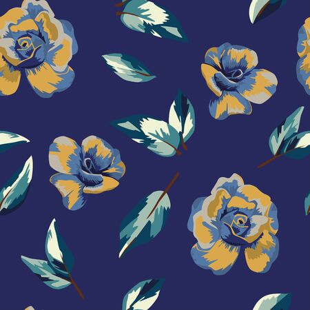 Multicolor yellow blue beauty flowers roses and blue leaves background. Seamless abstract vector floral illustration watercolor style. Hand drawn wallpaper botanical random repeating trendy pattern.