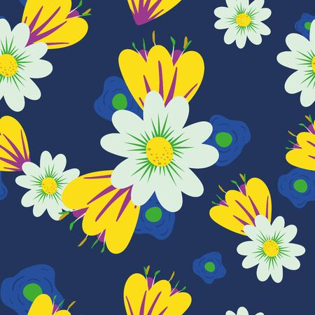 Multicolor bright beautiful meadow flowers on blue background. Seamless vector texture abstract floral illustration cute flat style. Hand drawn fashion wallpaper botanical random repeating pattern.