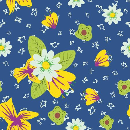 Multicolor bright beautiful hand drawn meadow flowers on trendy color 2020 blue background. Seamless vector texture abstract floral illustration flat style. Fashion wallpaper botanical repeat pattern. Ilustracja