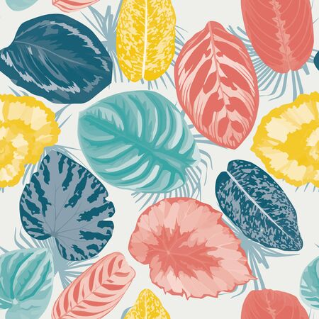 Various trendy color realistic vector begonia leaves on white background. Abstract seamless pattern exotic botanical floral illustration. Fashion textile print fabric repeat foliage, mobile wallpaper.
