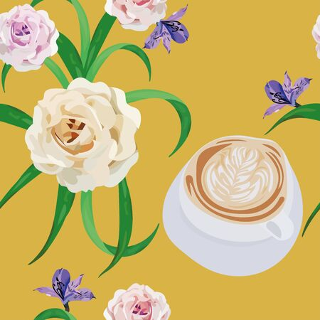 Vector seamless illustration a cup of cappuccino coffee with flowers bouquet roses on yellow background. Fashion textile print fabric repeat floral pattern, mobile wallpaper. Ilustracja
