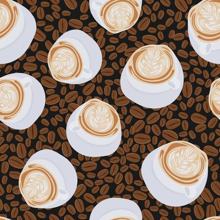 Hand drawn vector seamless illustration scattered coffee beans and fragrant cup of cappuccino, latte, espresso with art foam on black background. Template print paper repeat fresh pattern wallpaper.