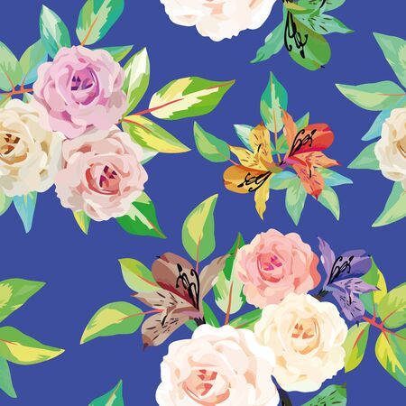 Hand drawn roses flowers with green leaves vector seamless illustration on blue background. Template print wrapping, textile repeating pattern. Trendy composition floral for phone, desktop wallpaper. Ilustracja