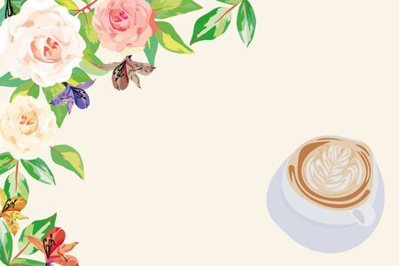 Good morning vector illustration consisting of beautiful english roses flowers light green leaves and delicious freshly brewed aromatic cappuccino coffee on white background with place for inscription Ilustracja