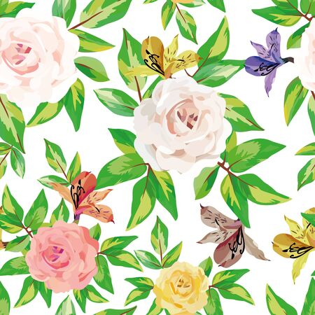 Roses blooming flowers with green leaves vector seamless pattern illustration on white background. Trendy template natural composition wallpaper greeting or invitation or textile in watercolor style.