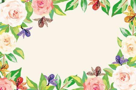 Floral summer frame template advertising banner realistic vector illustration blooming flowers roses and green leaves on white background. Natural wallpaper greeting or invitation in watercolor style.