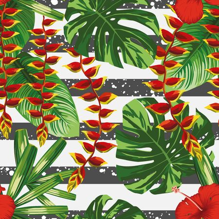 Floral vector composition tropical red hibiscus, heliconia flowers and palm, banana, monstera leaves seamless pattern on striped black white background. Repeating design exotic plants.