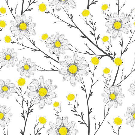 Schwarz-weiße Blumenstraußkamillenblüten mit gelbem mittlerem nahtlosem Vektor auf weißem Hintergrund. Frische Gänseblümchenmustertapete. Sich wiederholender Blumenzweig Vektorgrafik