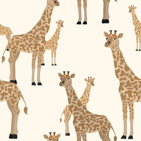Cunning cute realistic vector giraffe seamless pattern on yellow sand background. Repeating creative design animal illustration.