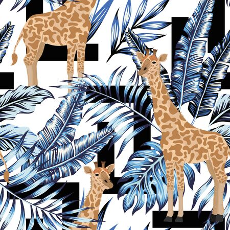 Abstract summer foliar composition blue exotic tropical leaves and standing giraffe seamless vector pattern on black geometric shapes white background. Spring creative wallpaper illustration Иллюстрация