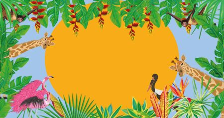 Tropic jungle full hd wallpaper composition consisting of flamingo, stork birds, giraffe, monkey animal and green exotic tropical leaves and flowers vector pattern on the setting summer sun background Иллюстрация
