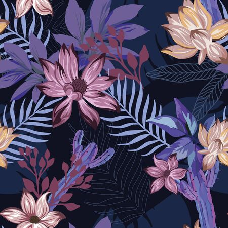 Night exotic illustration beautiful tropical lily, lotus flowers, blue tropic leaves and abstract cactus seamless vector pattern on dark blue background. Beach creative wallpaper