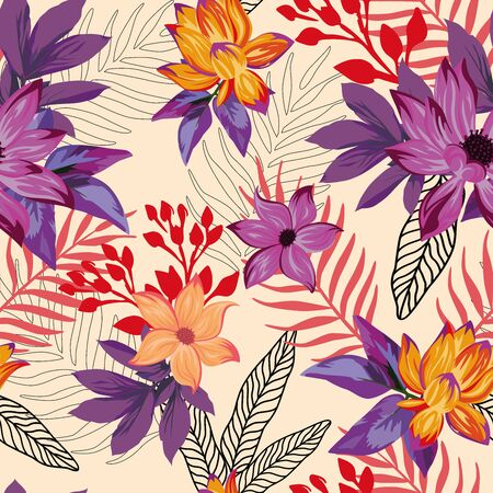 Vivid exotic illustration beautiful tropical lily, lotus flowers, abstract violet tropic leaves seamless vector pattern on beige background. Beach multicolor creative wallpaper
