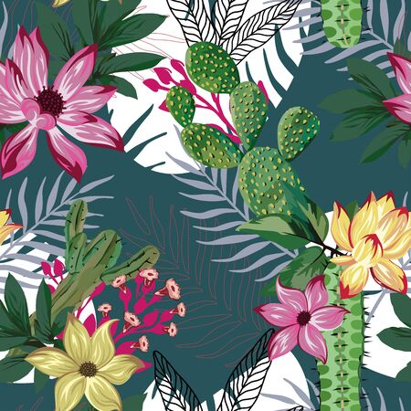 Vivid exotic abstract illustration beautiful yellow, red tropical lily, lotus flowers, green tropic leaves seamless vector pattern on green, white background. Beach multicolor creative wallpaper