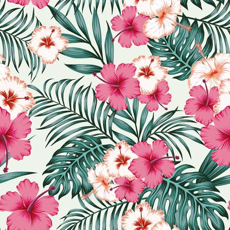Summer repeat illustration in jungle of exotic hibiscus flowers and fern, palm leaves. Seamless tropical pattern on white background. Beach design wallpaper.