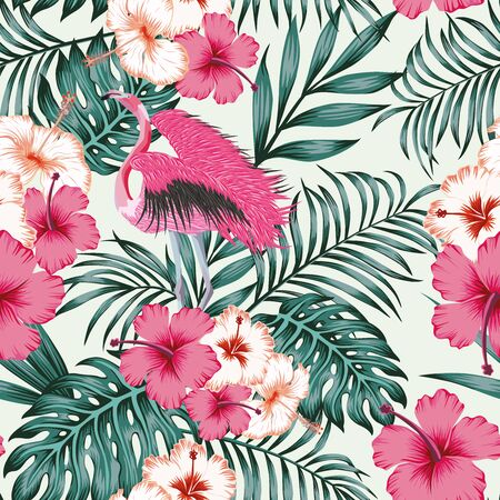 Exotic beautiful bird pink flamingo spread wings in jungle of hibiscus flowers and monstera, palm leaves. Seamless tropical pattern on white background. Beach design wallpaper.