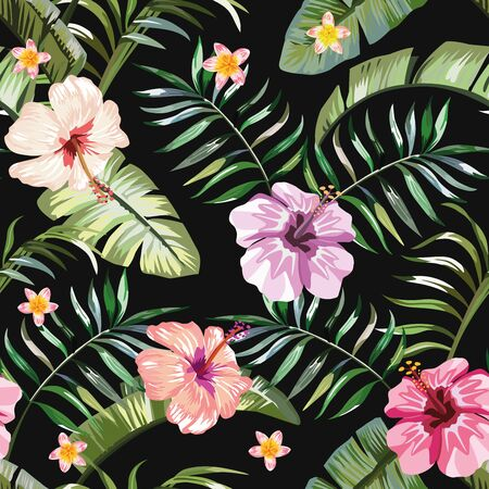 Floral exotic tropical seamless pattern tropic hawaiian wallpaper. Vivid hibiscus and plumeria (frangipani) flowers and green palm banana leaves on a black background. Beach backdrop repeating design. Ilustração Vetorial