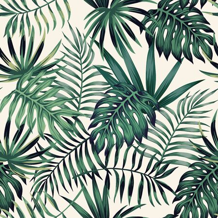 Exotic tropical palm, monstera, fern leaves seamless pattern on the white background. Jungle vector leaves wallpaper. Vettoriali