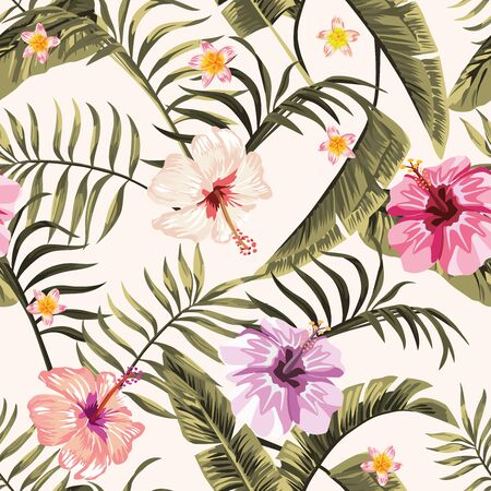 Exotic tropical palm, fern leaves, vivid hibiscus, plumeria flowers seamless pattern on the white background. Jungle vector floral wallpaper.