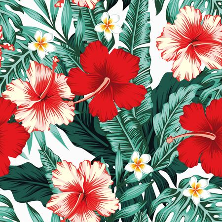 Exotic green tropical palm, fern leaves, vivid hibiscus, plumeria flowers seamless pattern on the white background. Jungle vector floral wallpaper. Vettoriali