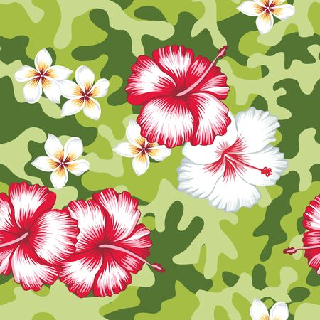 Trendy camo military urban seamless vector pattern with beautiful flower pink and white hibiscus plumeria. Abstract background navy army khaki illustration in green color scheme Иллюстрация
