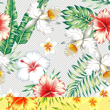 Red white tropical hibiscus, plumeria flowers on a various color background of green leaves. Seamless vector beach wallpaper pattern