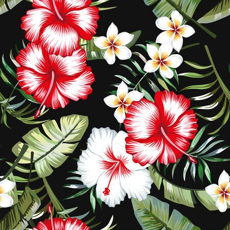 Red and white hibiscus flower on a background of palm leaves and plumeria in a trendy green vector style. Hawaiian tropical natural floral seamless pattern
