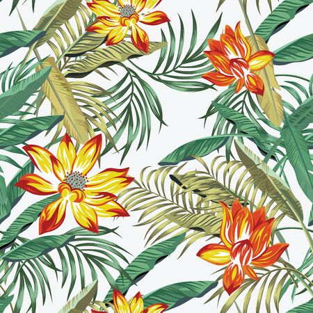 Floral seamless illustration, realistic vector pattern green palm, fern leaves and sunny orange lily, lotus flowers on the white background Vecteurs