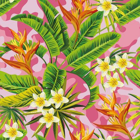Tropical exotic plumeria flowers with green leaves of banana palm on a  pink camo background. Seamless pattern. fashion trendy summer wallpaper Иллюстрация