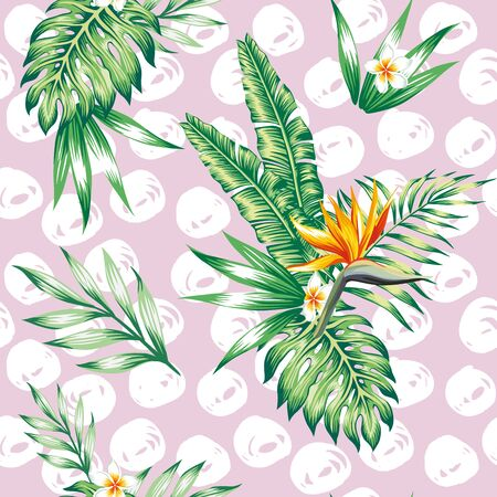 Tropical composition on branch exotic floral banana palm beach tree. Seamless vector wallpaper pattern flower Plumeria Strelitzia. Decorative abstract design on a pink background. Vector Illustration