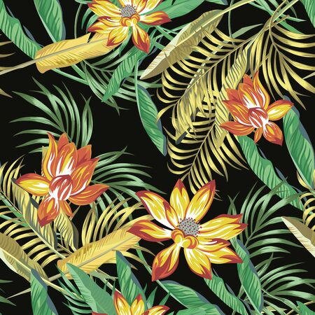 Beautiful fiery color exotic tropical flowers lotus, lily and green, golden color palm, banana, fern leaves seamless vector pattern on black background. Beach summer trendy illustration.