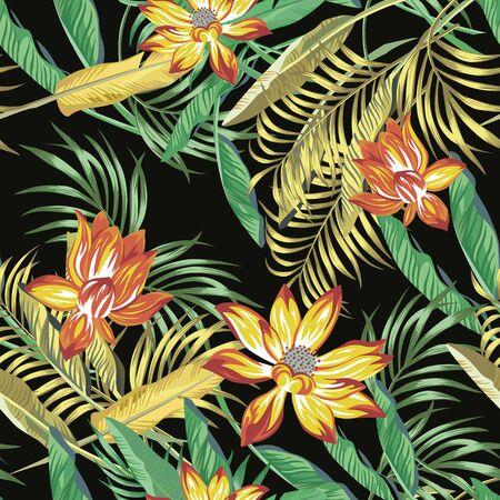 Schöne feurige exotische tropische Blumen Lotus, Lilie und Grün, goldene Farbpalme, Banane, Farnblätter nahtloses Vektormuster auf schwarzem Hintergrund. Trendige Illustration des Strandsommers.