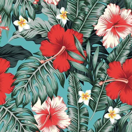 Beautiful red and white exotic tropical flowers Hibiscus, plumeria, frangipani and green palm, banana, fern leaves seamless vector pattern on blue background. Beach summer trendy illustration. Vettoriali