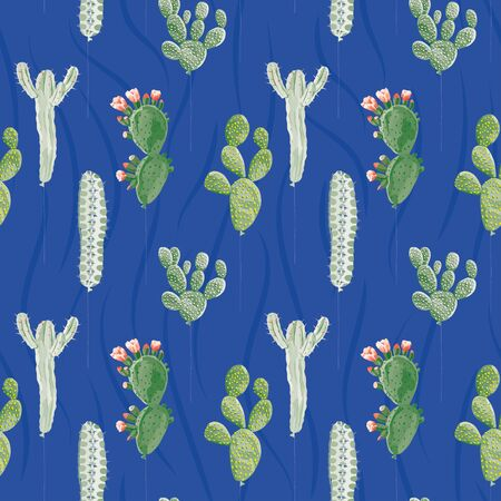 Creative seamless illustration balloons in form of various succulent cactus on the blue background. Design fabric pattern, trendy wallpaper.