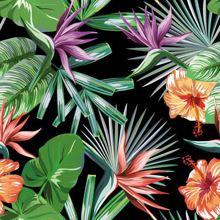 Seamless vivid exotic pattern with tropical palm, banana leaves and bird of paradise, strelitzia, hibiscus flower on a black background green vector style. Hawaiian tropical natural floral wallpaper