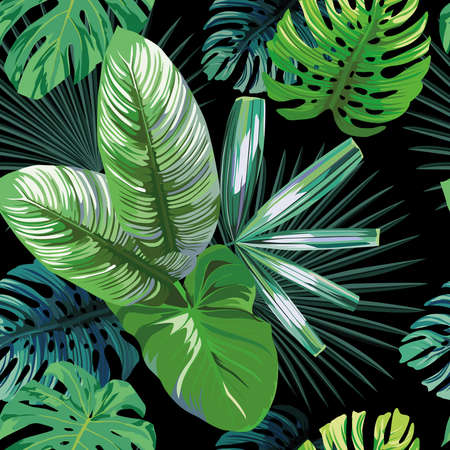 Seamless exotic pattern with tropical palm, banana, monstera leaves on a black background green vector style. Hawaiian tropical natural floral wallpaper