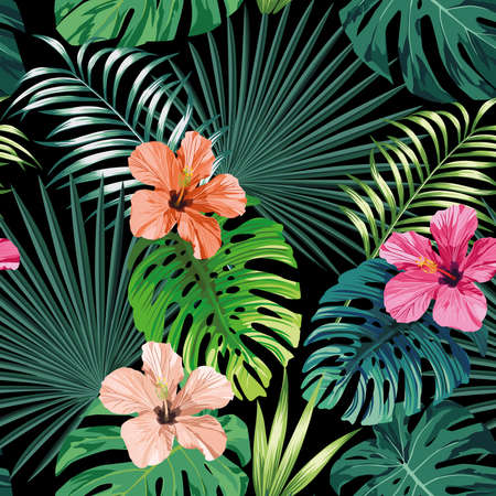 Seamless exotic pattern with tropical palm, banana, monstera leaves and rose, beige and pink hibiscus flower on a black background green vector style. Hawaiian tropical natural floral wallpaper Ilustración de vector
