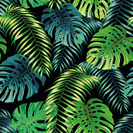 Botanical green seamless pattern leaves Fern and Monstera on black background. Exotic wallpaper design