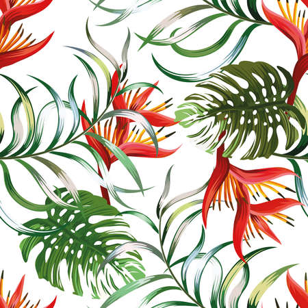 Exotic seamless pattern leaves Fern, Monstera and Heliconia flowers on white background