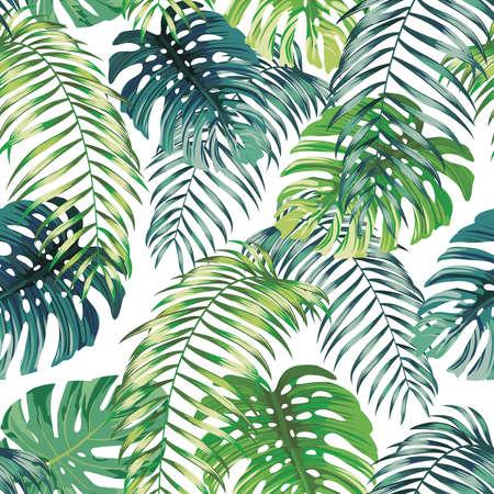 Botanical green seamless pattern leaves Fern and Monstera on white background. Exotic wallpaper design Vettoriali