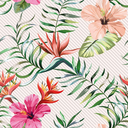 Botanical multicolor seamless pattern hibiscus, bird of paradise_ strelizia flowers and Fern, Banana, Palm green leaves on light colored background. Exotic wallpaper design