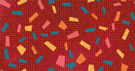 Christmas seamless vector background cartoon child style. Multicolored geometric shapes laid out in chaos style for wallpaper and wrapping paper
