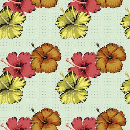Tropical Hibiscus flowers seamless vector pattern background of dots
