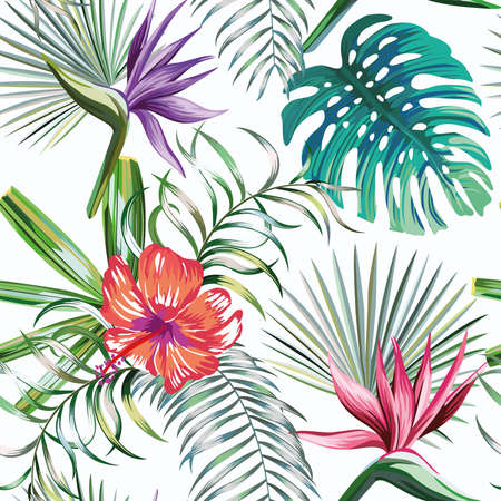 Beautiful exotic tropical plants and hibiscus, bird of paradise flowers seamless vector pattern on white background Vetores