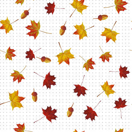 Beautiful vector Maple leaf and acorn seamless pattern white background in black dots